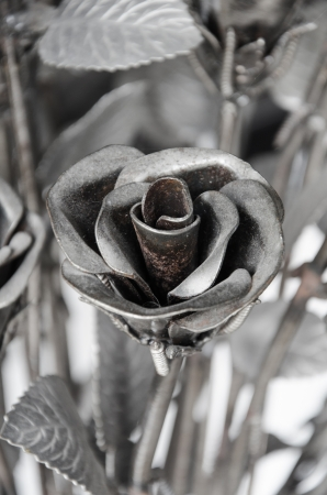 hard love: Flowers roses made of iron for Love is hard.