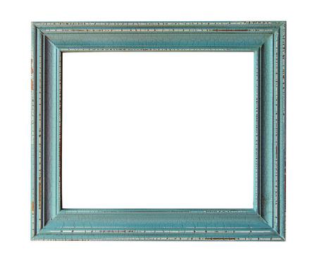 Wooden photo frame empty Isolated on white.  Stock Photo