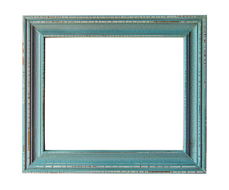 turquoise: Wooden photo frame empty Isolated on white.