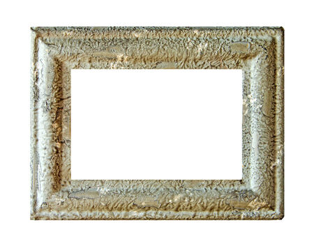 stone empty picture frame Isolated on white  photo