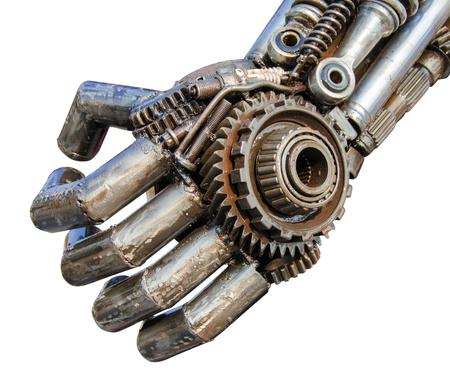 金属サイバーまたは機械的ラチェット ボルトとナットからなされるロボットの手。