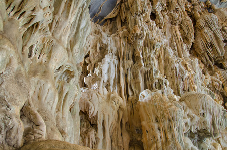 drop ceiling: Underground cave in Laos, with stalagmites and stalactites.