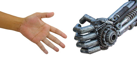 robot: Mężczyzna ręka z robota cy-ber samodzielnie na białym tle. Zdjęcie Seryjne