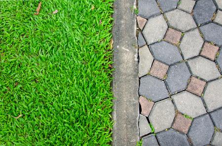 歩道道路と草のテクスチャです。