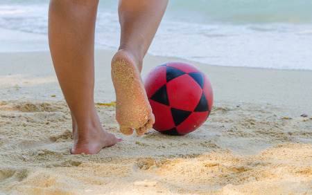 football on beach for Soccer sport photo