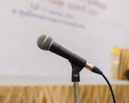 microphone in conference hall. photo
