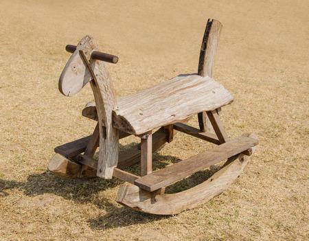 Wooden Rocking Horse on playground. photo