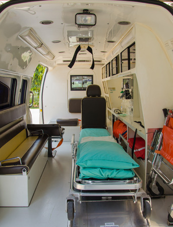 Inside of an ambulance for the hospital. Stock Photo