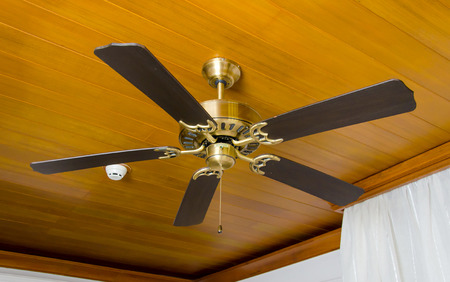 Ceiling fan in bedroom.