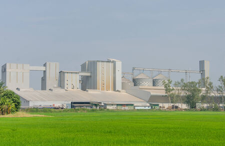 rice mill: storage tanks in rice mill, factory process production line Stock Photo