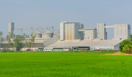rice mill: storage tanks in rice mill, factory process production line Editorial