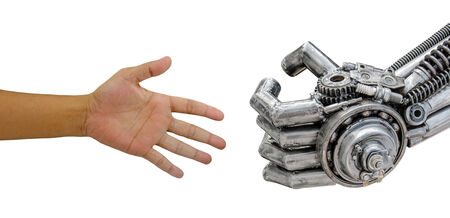 man hand  handshake with cy-ber robot isolated on white background.