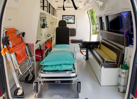 Inside of an ambulance for the hospital. 스톡 콘텐츠