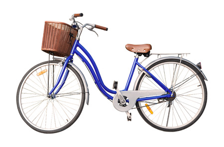 白い背景の青い女性自転車を分離します。