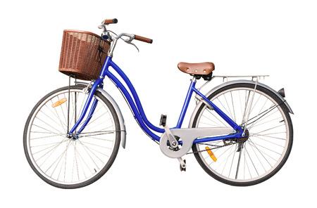 blauw dames fiets isoleren op een witte achtergrond.