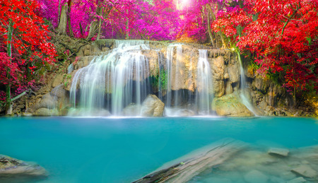 Waterfall in Deep forest at Erawan waterfall National Park, Thailand.