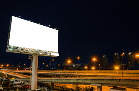 Blank billboard at night for advertisement. photo