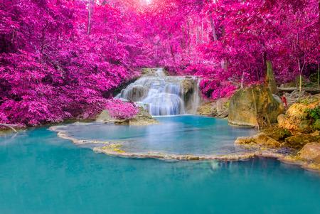 Waterfall in Deep forest at Erawan waterfall National Park, Kanjanaburi Thailand.