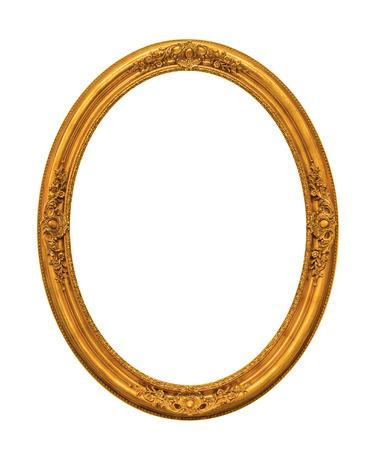 marcos decorados: Chapado en oro adornado marco vac�o aislado en el fondo blanco Foto de archivo