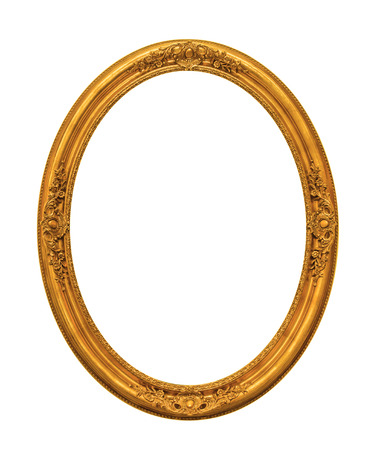 Ornamented gold plated empty picture frame Isolated on white background Archivio Fotografico