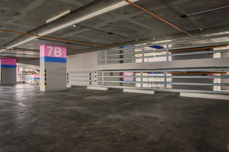 car park interior: Empty parking garage on the building. Editorial