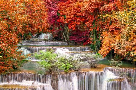 waterfall river: Waterfall in deep rain forest jungle. (Huay Mae Kamin Waterfall in Kanchanaburi Province, Thailand) Stock Photo