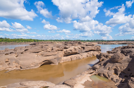 Grand Canyon amazing of rock in Mekong river, Ubonratchathani Thailand. photo