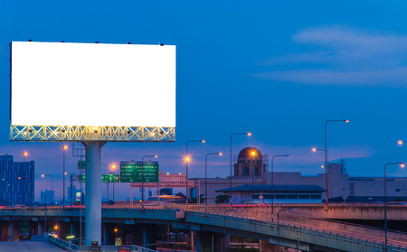 'advertising space': Blank billboard at twilight time for advertisement.