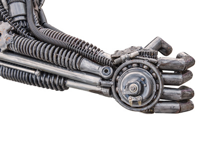 Hand of Metallic cyber or robot made from Mechanical ratchets bolts and nuts Reklamní fotografie