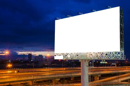 display advertising: Blank billboard at night for advertisement.