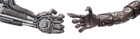 handshake of Metallic cyber or robot made from Mechanical ratchets bolts and nuts. Stock Photo