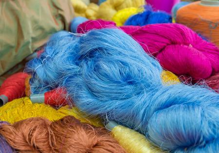 messaline: Group of Raw silk thread and messaline Stock Photo