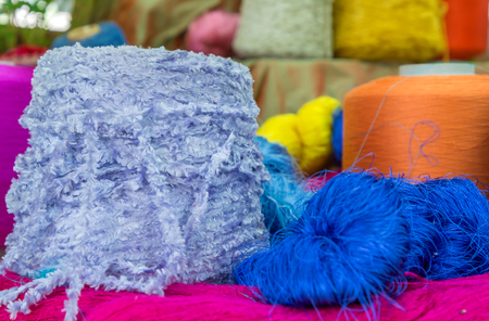 Group of Raw silk thread and messaline Stock Photo