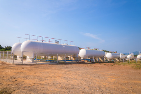 liquefied: Natural Gas storage tanks in industrial plant.
