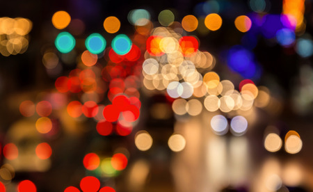 abstact blur bokeh of Evening traffic jam on road in city. Standard-Bild