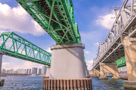 express lane: Large bridge highway over the river in Seoul, Korea. Stock Photo