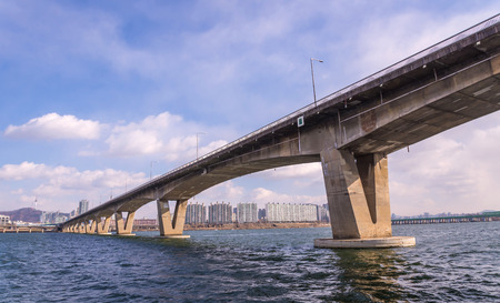 express lane: Large bridge highway over the river in Seoul, Korea Stock Photo