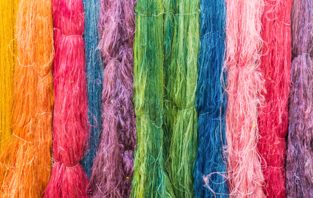 silk thread: Colorful of Raw silk thread for background. Stock Photo