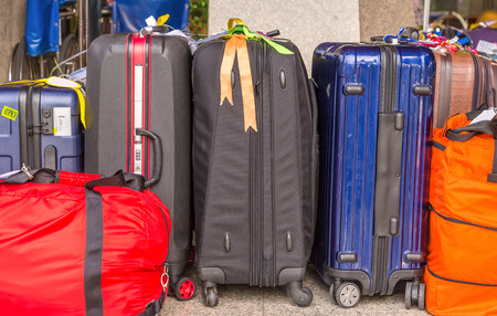 Luggage consisting of large suitcases rucksacks and travel bag 스톡 콘텐츠