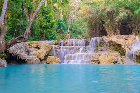 tat: Waterfall in rain forest (Tat Kuang Si Waterfalls at Luang prabang, Laos.)