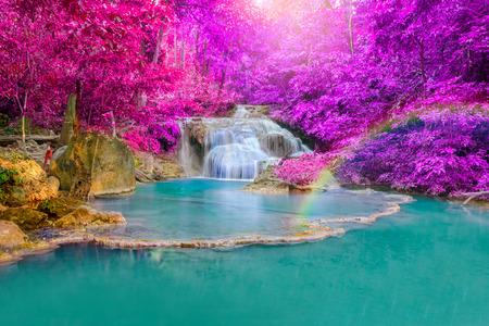 leaves on water: Waterfall in Deep forest at Erawan waterfall National Park, Kanjanaburi Thailand.