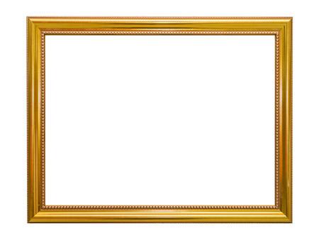 marco madera: Oro elegante marco de la vendimia aislado en el fondo blanco. Foto de archivo