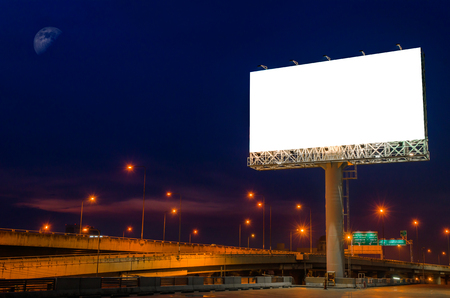 advertisement: Blank billboard at twilight time for advertisement.