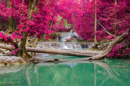 waterfall: Waterfall in Deep forest at Erawan waterfall National Park, Thailand.