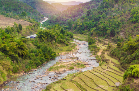 terraced: Beautiful landscape about terraced rice field with river in Myanmar.