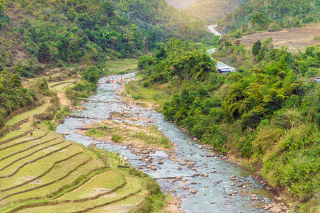 terraced field: Beautiful landscape about terraced rice field with river in Myanmar.