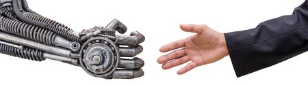 clasped hand: man hand  handshake with cy-ber robot isolated on white background.