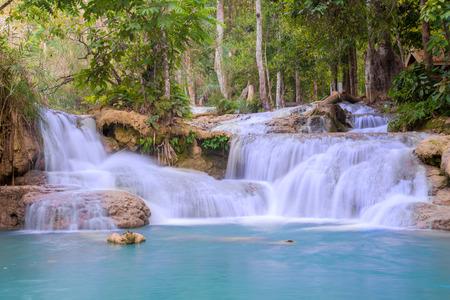 waterfall river: Waterfall in rain forest (Tat Kuang Si Waterfalls at Luang prabang, Laos.)
