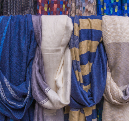 multiple personality: Colorful of scarves in a textiles market.