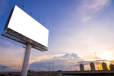 advertising material: large Blank billboard ready for new advertisement. Stock Photo